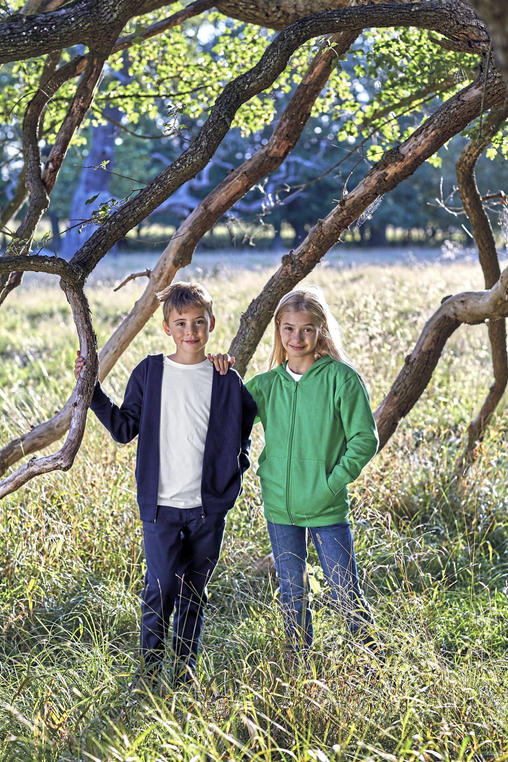Økologisk, Fairtrade Og Co2 Neutral  Hættesweatshirt Med Lynlås Til Børn I En 300g/m2 Kvalitet [NE13301]